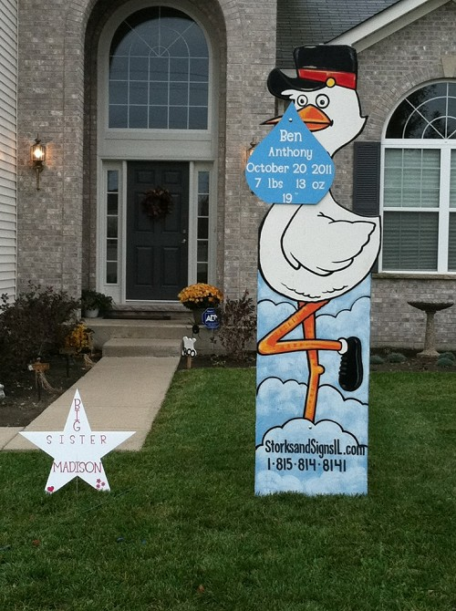 Twin Tall Stork Sign